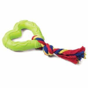 """Игрушка для собак из ц/литой резины """"Сердечко с веревкой"""". 70/150мм"""