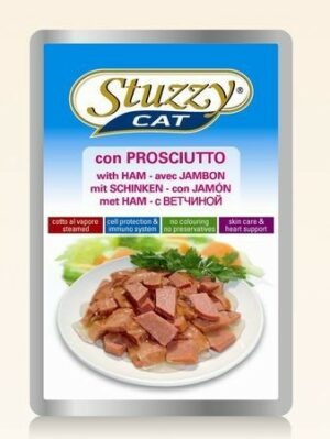 132.С2403    STUZZYCAT консервы для кошек с ветчиной 100гр (24шт/упак)