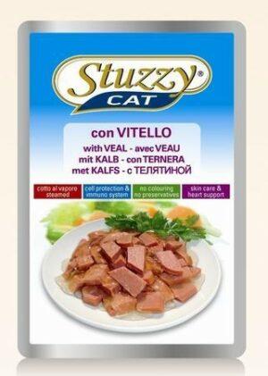 132.С2404    STUZZYCAT консервы для кошек с телятиной 100гр (24шт/упак)