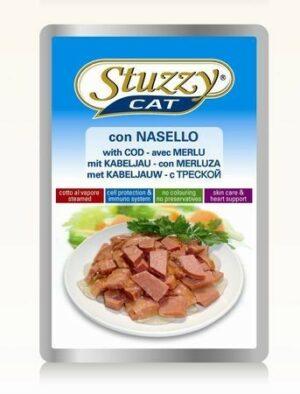 132.С2405    STUZZYCAT консервы для кошек с треской 100гр (24шт/упак)