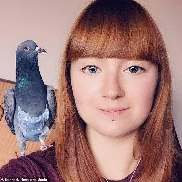 голубь на плече хозяйки